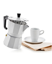 Coffee Maker Enamelled Italexpress Alu. 6 cups white